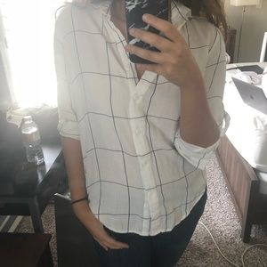Boohoo button down check shirt in white